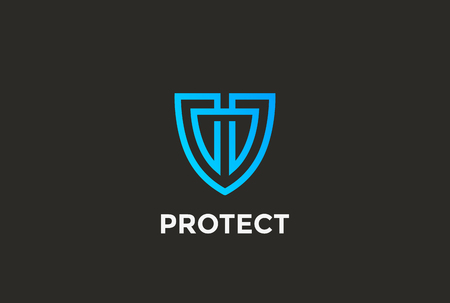 Security Agency Shield Logo ontwerp vector template lineaire stijl. Procureur Looped Lines Advocaat Rechtsbescherming Logotype. Law concept pictogram. Stock Illustratie