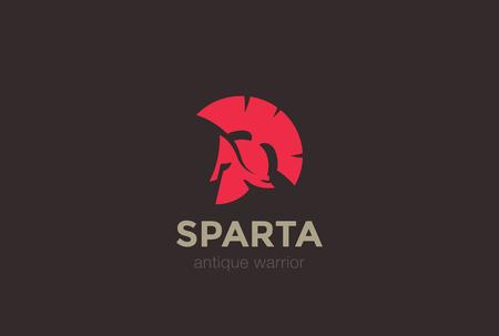Modèle de vecteur de conception logo Logo antique de casque Sparta Warrior. Icône de concept ancien logotype Spartan.