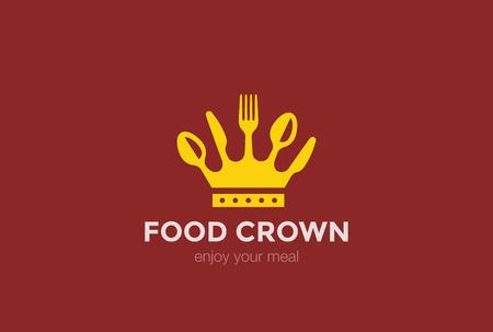 logos restaurantes: Corona de cuchillo cuchara tenedor logotipo de diseño vectorial icono concepto templateCook Jefe de logo alimentos
