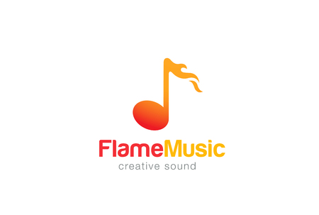 logo music: Note in Flame Music Hot sound Logo design vector template.Fire melody Logotype concept icon. Illustration
