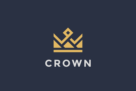 crown: Geometric Crown abstract Logo design vector template.Vintage Royal King Queen symbol Logotype concept icon.