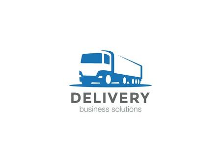 Camion de livraison conception silhouette Logo template vecteur négatif style.Cargo espace véhicule automobile concept Logotype icône.