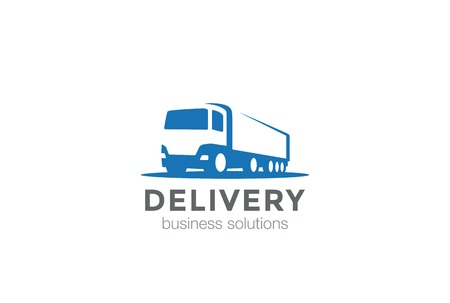 Delivery Truck silhouette Logo design vector template Negative space style.Cargo automotive vehicle Logotype concept icon.