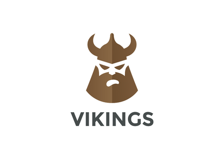 Viking Hoofd in Helmet silhouet Beer Pub Logo ontwerp vector template.Ancient Warrior Logotype concept pictogram negatieve ruimte stijl. Stock Illustratie