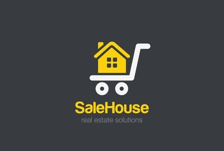house icon: Real Estate Logo design vector template.Sale cart House silhouette Logotype concept icon.