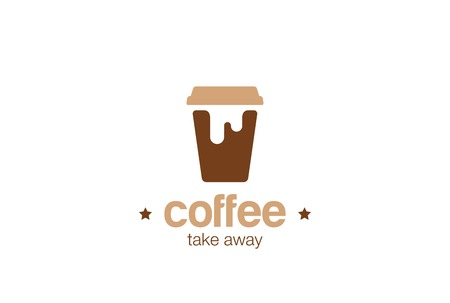Coffee take away paper cup Logo design vector template Negative space style.Coffee-shop Logotype concept icon.