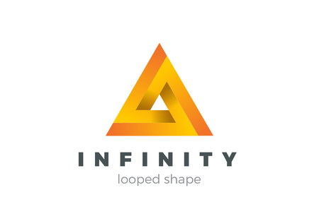 infinite shape: Triangle Infinity Looped Geometric shape Logo design vector template.Business Technology impossible infinite loop symbol Logotype concept icon