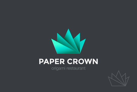 Paper Origami Crown abstract Logo design vector template.Creative Business Logotype concept icon.