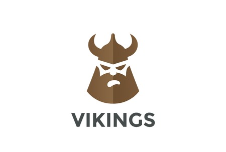 norseman: Viking Head in Helmet silhouette Beer Pub design vector template. Ancient Warrior concept icon Negative space style.