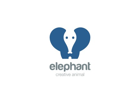 negative spaces: Elephant funny silhouette abstract geometric design vector template Negative space.Wild animal concept icon Illustration