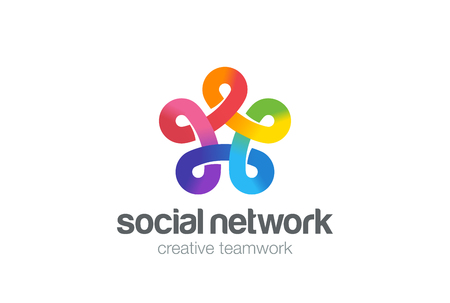 infinite shape: Social network colorful design vector template. Five point Infinity Looped star . Infinite shape concept Loop icon.