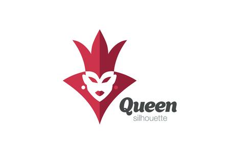 Plantilla real del vector del diseño de la silueta de la mujer de la reina. Corona femenina Icono de concepto de espacio negativo.