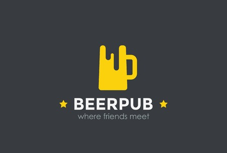 alcoholic drinks: Beer Mug Silhouette design vector template Negative space. Bar Pub  Alcoholic drinks concept icon.