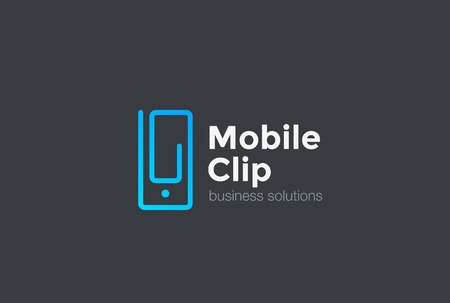 mobile solutions: Mobile Phone as Clip design vector template Linear style. Creative Business Technology Solutions concept icon.