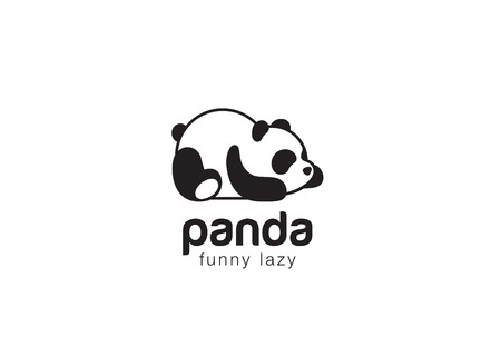 Panda bear silhouette design vector template. Funny Lazy animal concept icon. Çizim