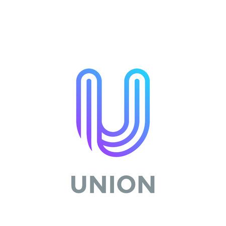 List U Logo szablon wektor wzór. Logotyp linii czcionek