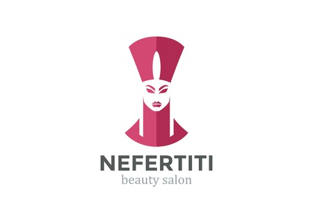 beauty queen: Nefertiti Head silhouette Beauty SPA salon design vector template. Ancient Woman concept icon Negative space style.