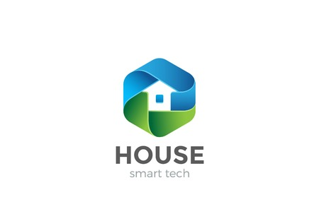 Eco House Logo abstract design vector template in Hexagon shape.  Home services Household Ecology green smart Logotype concept icon