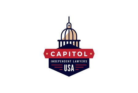 capital building: Capitol Logo Lawyer abstract vintage retro design vector template.  Creative Law Attorney Government Logotype concept icon symbol.