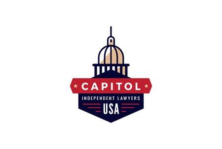 senate: Capitol Logo Lawyer abstract vintage retro design vector template.  Creative Law Attorney Government Logotype concept icon symbol.
