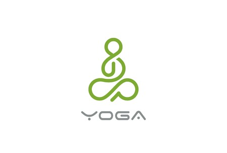 Yoga Logo abstract Man sitting Lotus pose design vector template Linear style. 