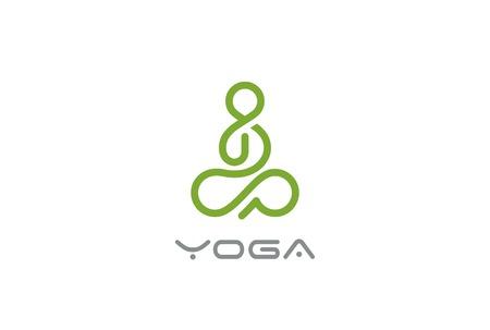 Yoga Logo L'uomo astratto seduto posa del loto modello di disegno vettoriale stile lineare. SPA Beauty Healthcare Zen Armonia Logotype concetto icona Logo
