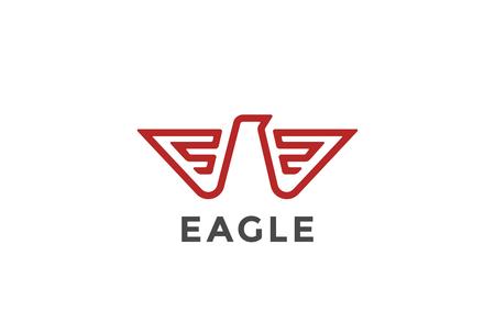 Eagle Logo abstract design vector template Linear style. Bird Falcon Hawk Luxury Logotype concept icon Geometric Heraldic style.