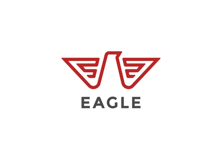 Eagle Logo abstract design vector template Linear style.