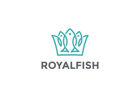 Crown of Fishes Logo design vector template Linear style.