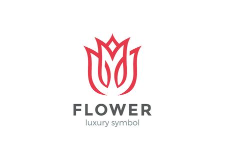 高級ファッション花ロゴ抽象的な線形スタイル。  チューリップ ローズ ライン ロゴタイプ デザイン ベクトル テンプレートをループ