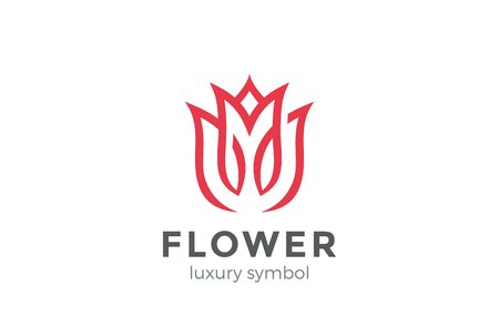 Luxury Fashion Flower Logo abstract Linear style.  Looped Tulip Rose Lines Logotype design vector template