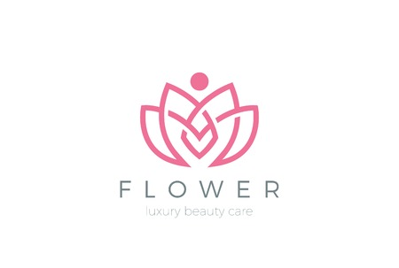 spa salon: Lotus Flower Logo abstract Beauty Spa salon Cosmetics