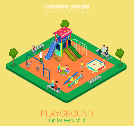rocker: Children playground flat 3d isometric infographics concept. Sandpit swing slide rocker carousel rope ladder bench info graphics objects. Creative people collection. Illustration