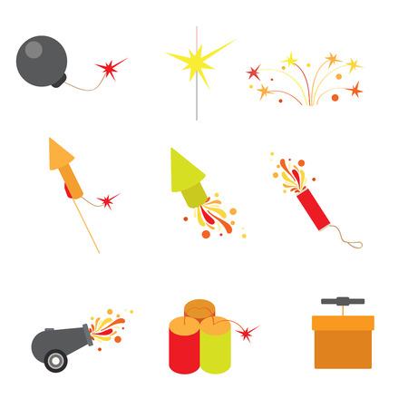 detonating: Flat style modern fireworks web app concept icon set. Bullet rocket cannon gun detonating fuse exploder slapstick petard flap. Website icons collection.