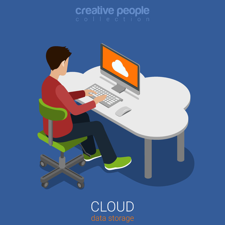 man using computer: Cloud data personal storage computing flat 3d isometric web infographics concept. Young man sits by table using desktop computer online cloud internet backup technology. Creative people collection.