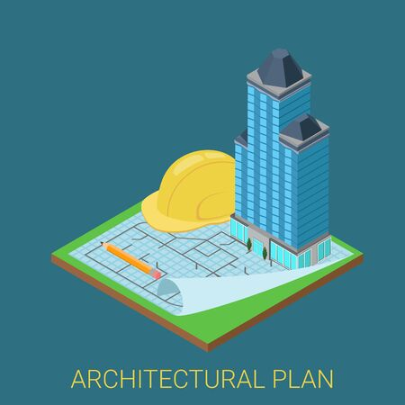 construction plan: Architectural plan flat 3d isometric concept. Skyscraper glass building on paper floor sketch and big pencil construction helmet. Business conceptual infographics collection. Illustration