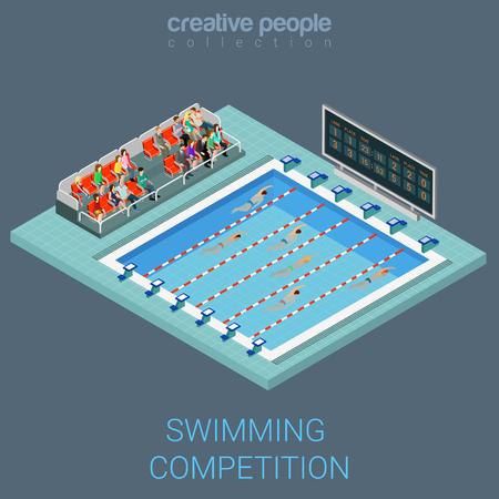 nadar: Competici�n de la nataci�n de la piscina plana informaci�n isom�trica concepto de gr�ficos 3D. Los deportistas de nataci�n de carreras l�nea inter infograf�a interiores. personas colecci�n creativa.