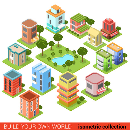city buildings: Flat 3d isometric building block small business square park eatery restaurant shop infographic concept. Build your own infographics world collection.