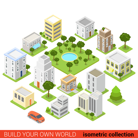 building block: Flat 3d isometric city building block dormitory area sleeping quarter infographic concept. Build your own infographics world collection.