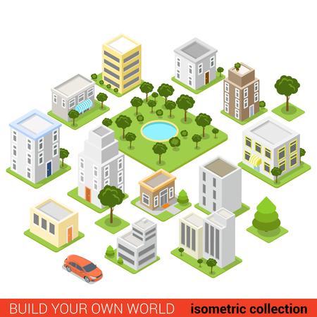 Flat 3d isometrische city building block slaapzaal gebied slapen kwartaal infographic concept. Bouw je eigen infographics wereld collectie.
