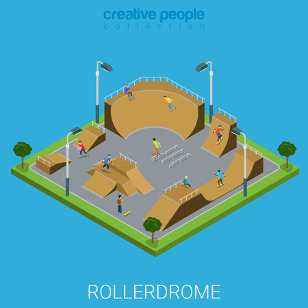 skate park: Skate roller arena rollerdrome flat 3d isometric city building outdoor concept. Teenagers on skateboard facility. Build your own world collection.