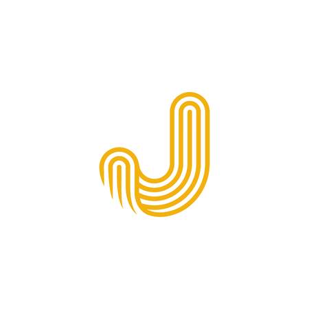 twisted: Creative Letter J Logo design vector template Linear. Type Character Symbol Logotype Illustration