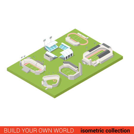 Flat 3d isometric sport stadium ground playground building block infographic concept. Soccer american football tennis baseball rugby. Build your own infographics world collection.