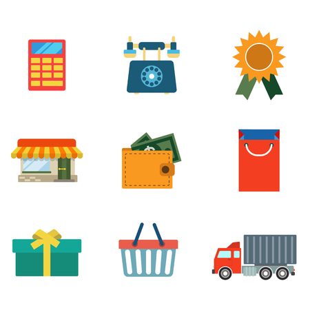 calc: Flat style modern online shopping delivery web app concept icon set. Calculator classic phone award shop building wallet money bag box gift cart van truck deliver. Website icons collection.