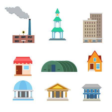 townhouse: Flat style modern classic buildings web app concept icon set. Factory plant chapel chantry oratory accommodation shop warehouse hangar townhouse court bank library municipal. Website icons collection. Illustration