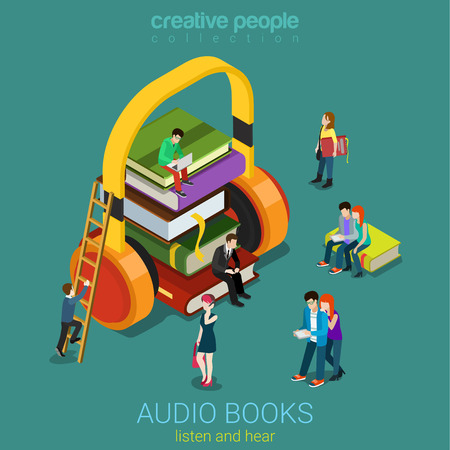 reads: Audio books flat 3d isometric electronic library concept. Micro people on pile of books listening to the huge headphones. Creative people collection.