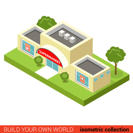 building block: Flat 3d isometric city supermarket building block infographic concept. Build your own infographics world collection. Illustration