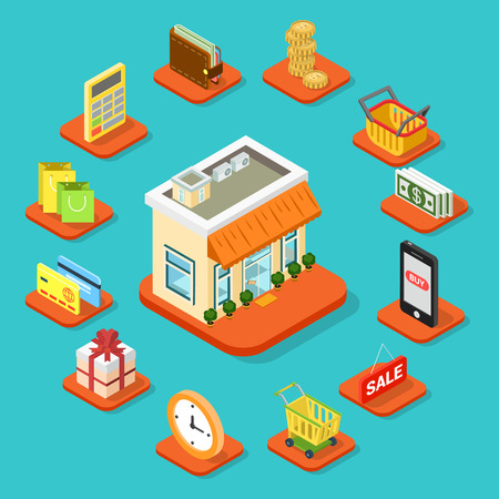 smart card: Shop store building infographic icon set flat 3d isometric style. Coin shopping cart bag banknote smart phone sale work schedule gift credit card calculator wallet. Business info graphics template.