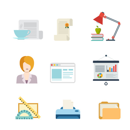 representative: Flat style modern business web app concept icon set. Document license certificate support team representative interface report printer folder whiteboard lamp. Website icons collection.