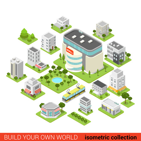 Flat 3d isometric city building block  shopping mall small restaurant shop dormitory area sleeping quarter infographic concept. Build your own infographics world collection. Çizim